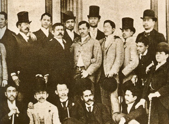 Jose Rizal at the center beside Marcelo del Pilar for a group portrait in Madrid, Spain